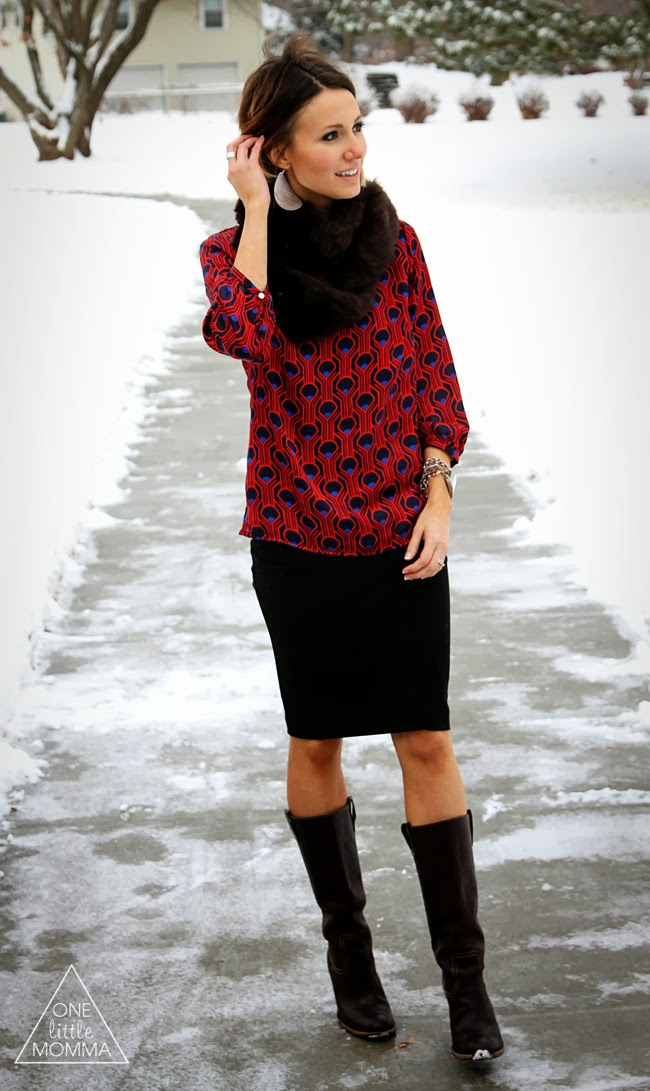 Pair a fur scarf with a bright printed blouse, pencil skirt and boots
