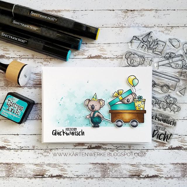 Kartenwerke: Geburtstagskarte mit dem Set Wagen voller Grüße von Create a Smile