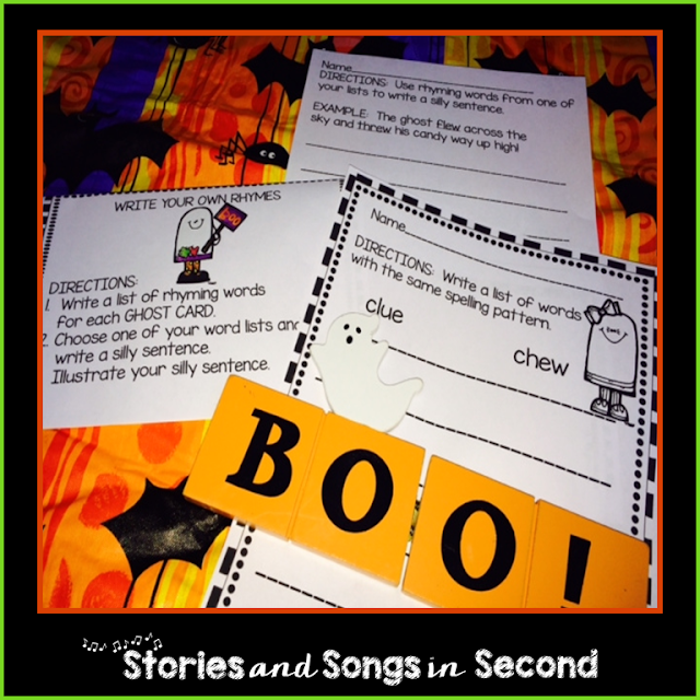 "Imagine a ghost that cannot say ""Boo!"" Your students will love sorting and writing with words that rhyme like clue, goo, shampoo, and flew with this spook-tacular resource pack!"