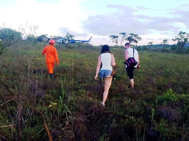 Casal é resgatado por grupamento aéreo na trilha da Cachoeira do Sossego em Lençóis