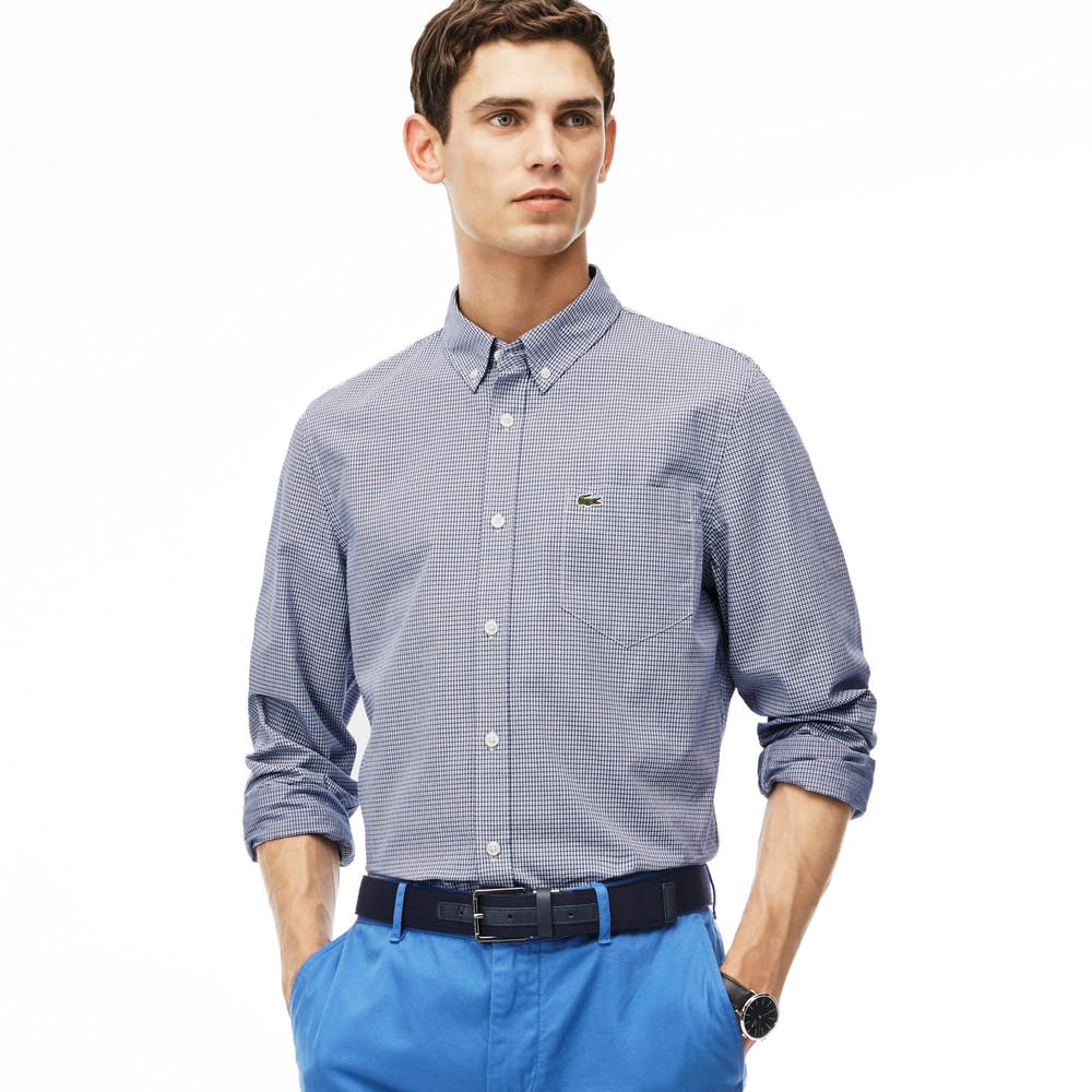 6adb9683c0381b Snatch this Lacoste Men s Slim Fit Checked Jacquard Cotton Poplin Shirt at  Shop Spring for  44.09 (Reg.  98) when you apply the code  SPRING10!