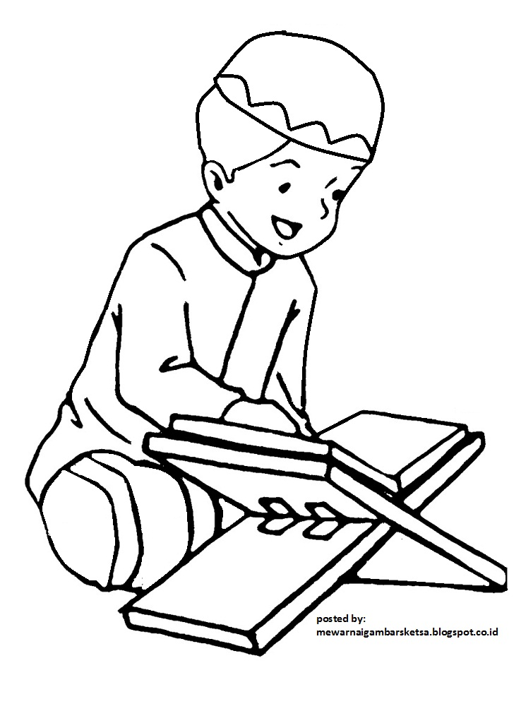 Mewarnai Gambar Mewarnai Gambar Sketsa Kartun Anak Muslim 13 Sedang