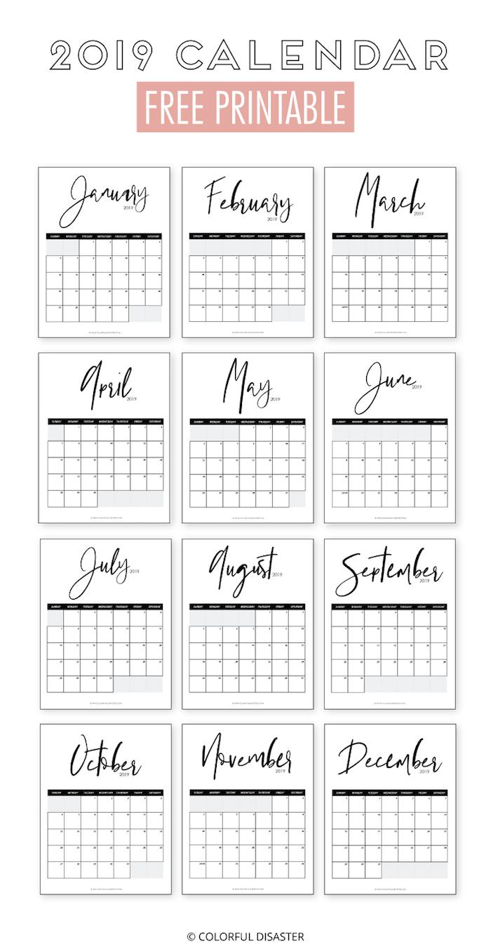 10 calendarios 2019 imprimibles y ¡Gratis!