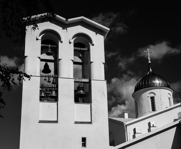 kirkontorni kellot valamon luostari mustavalkoinen valokuva black and white b&w
