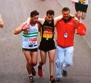 Runner helping struggling runner