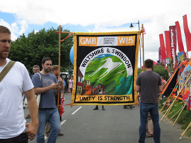 GMB Banner - Wiltshire and Swindon - before the Tolpuddle Martyr's Parade July 2016