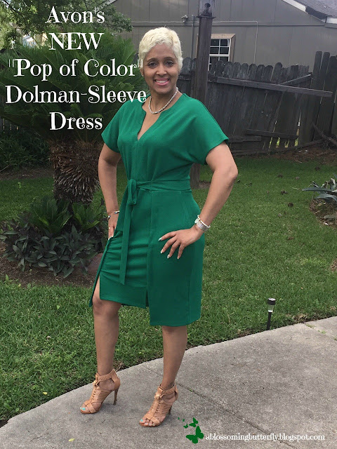 "Avon's NEW ""Pop of Color"" Dolman-Sleeve Dress"