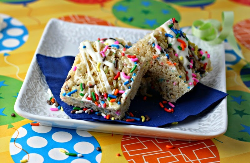 Birthday Cake Krispie Treats