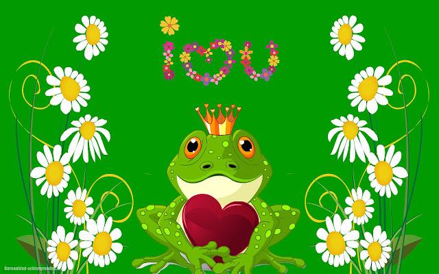 Groene achtergrond met kikker, bloemen en liefdes hartje