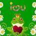 Groene achtergrond met kikker, bloemen, liefdes hartje