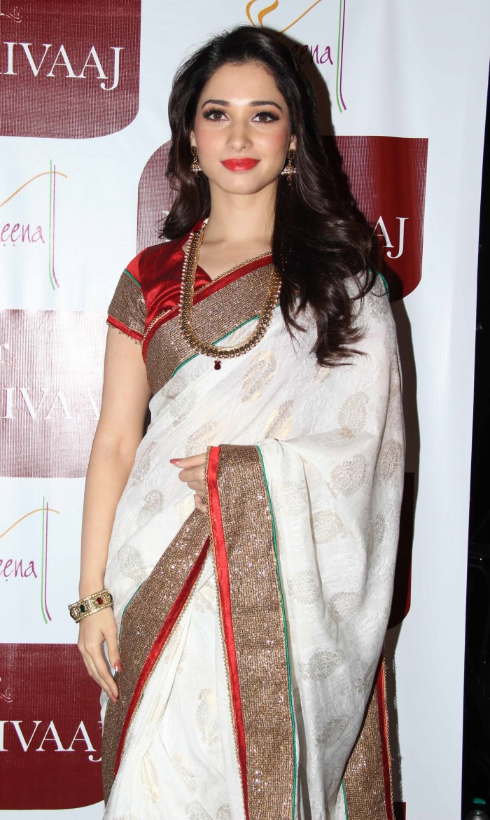 Tamannaah Long Hair Photos In White Saree