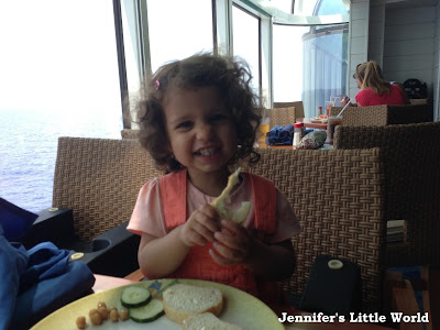 Child eating buffet on a cruise ship