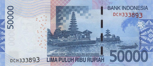 Indonesia money currency 50000 Rupiah banknote 2016