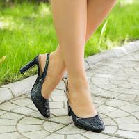 Sandala dama Piele Firuza bleumarin cu toc gros (modlet)