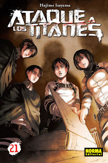 """""""Ataque a los Titanes"""" vol.21 de Hajime Isayama - Norma Editorial"""