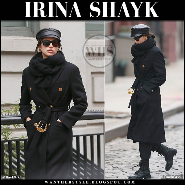 Irina Shayk in black gold button versace coat with black cap winter street style january 19