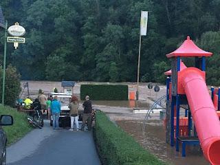 Hochwasser Prüm - Überflutung des Campingplatzes Südeifel