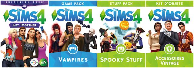 Les Digitals. Les Sims 4 Vivre ensemble, Les Sims 4 Vampire (Pack de jeu), Les Sims 4 Spooky Stuff (Kit d'objet) et Les Sims 4 Accessoires Vintage (Kit d'objet).