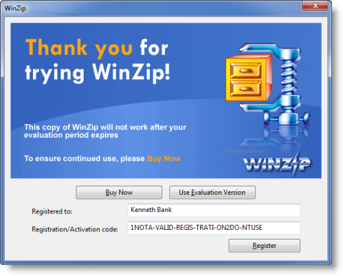 winzip 18 registered to and activation code