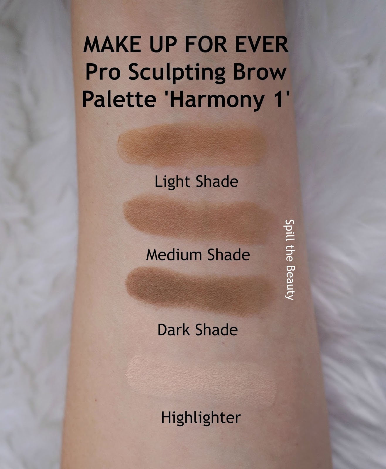 MAKE UP FOR EVER Pro Sculpting Brow Palette Harmony 1 review swatches 4 arm swatch