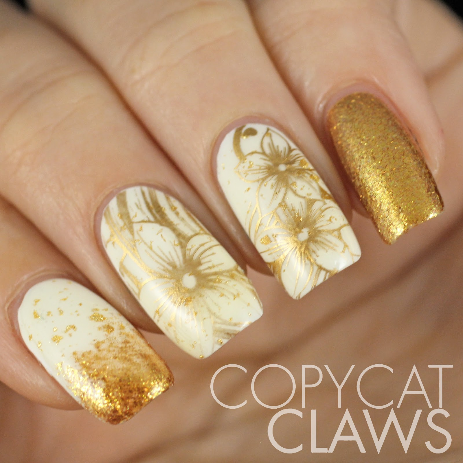Copycat Claws: Sunday Stamping - White and Gold Nails