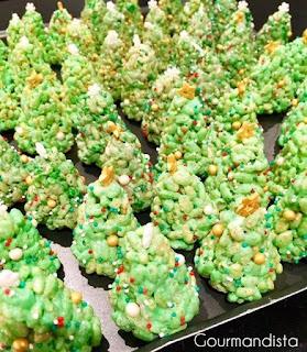 image Recettes de Noël : sapins riz soufflé et guimauves