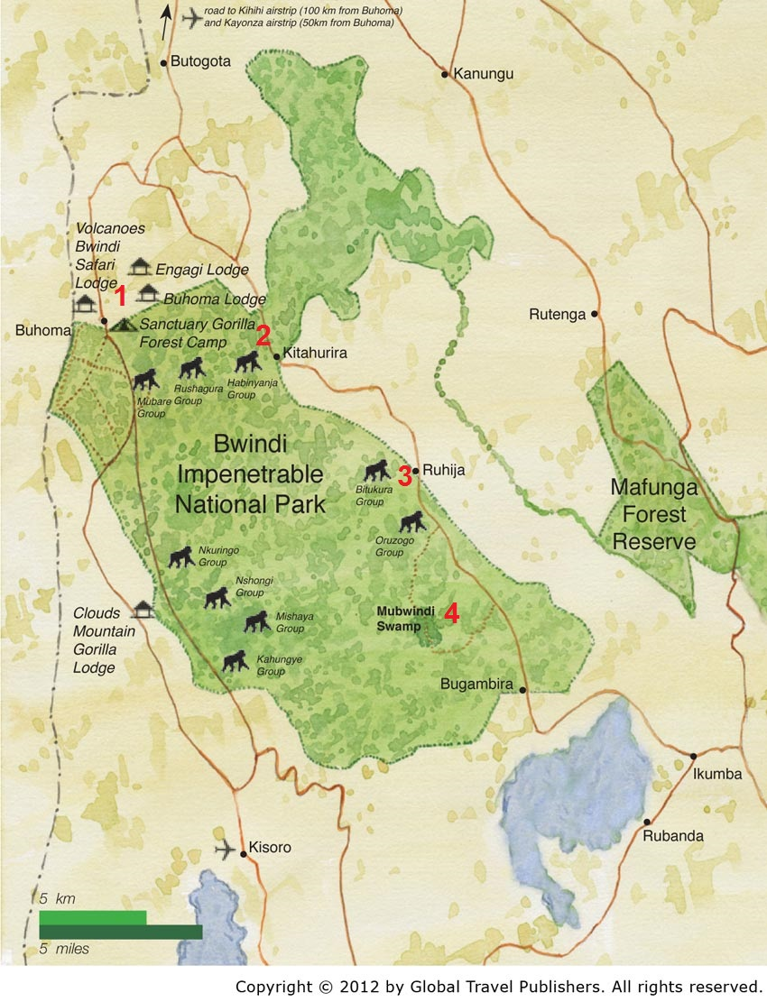 bwindi impenetrable np the red 2 marks the neck the other numbers refer to places i shall mention below map courtesy african adventure company
