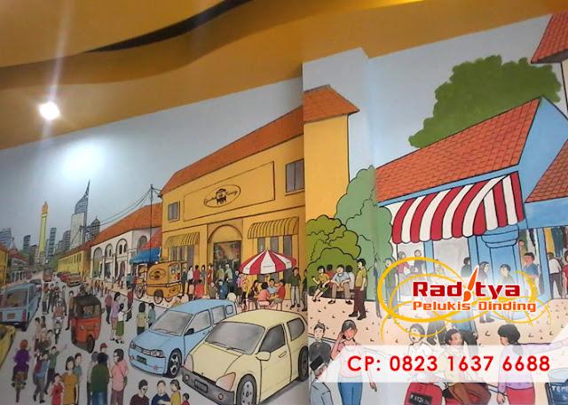 Cafe scene mural