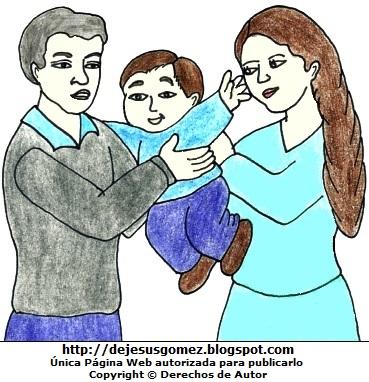 Dibujo de un niño con sus padres a colores  (Niño con papá y mamá). Dibujo del niño con sus padres hecho por Jesus Gómez