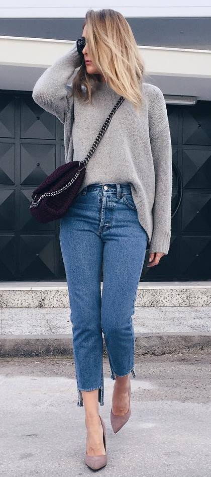 ootd | sweater + bag + jeans + heels