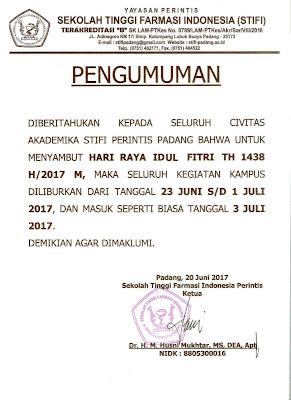 PENGUMUMAN LIBUR IDUL FITRI 1438 H