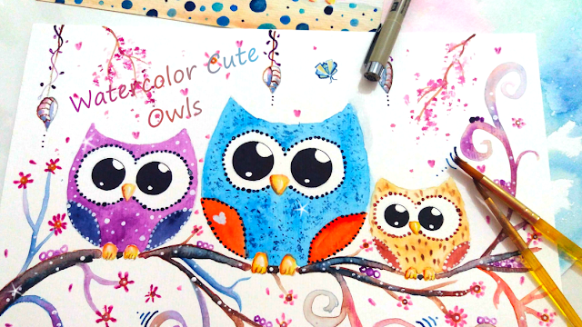 3 Cute Watercolor Doodle Owls