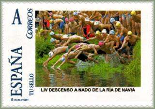 Sello personalizado del 49 Descenso a nado de la ría de Navia