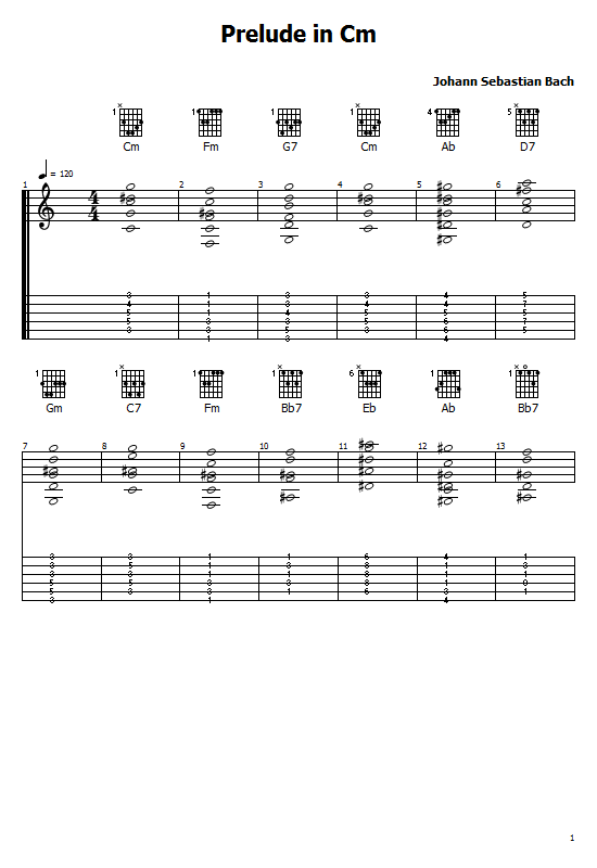 Prelude In C Minor Tabs Bach - How To Play Prelude In Cm Bach Song On Guitar Tabs & Sheet Online