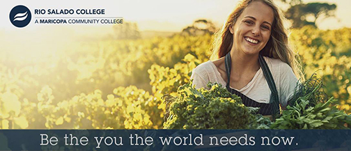 Image of a young women in a farm field holding produce, smiling at camera.  Text: Be the you the world needs now.