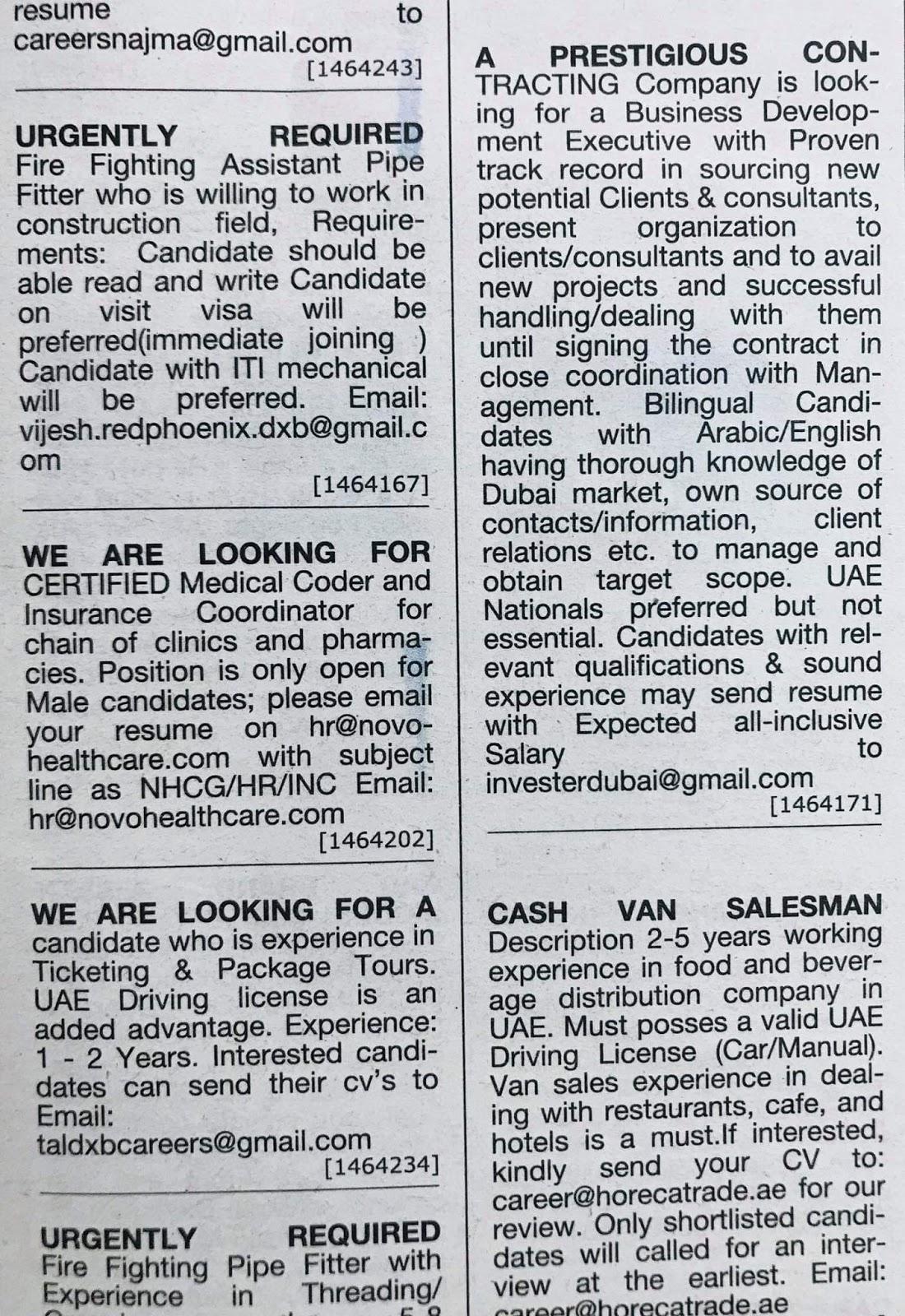 Various Jobs Available in UAE Local Hiring Jobs Khaleej Times-UAE