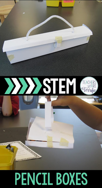 STEM Challenge: Build a pencil box that follows several constraints and then test it! Take a look at this blog post for more! #Kidslovestem #STEM #backtoschool
