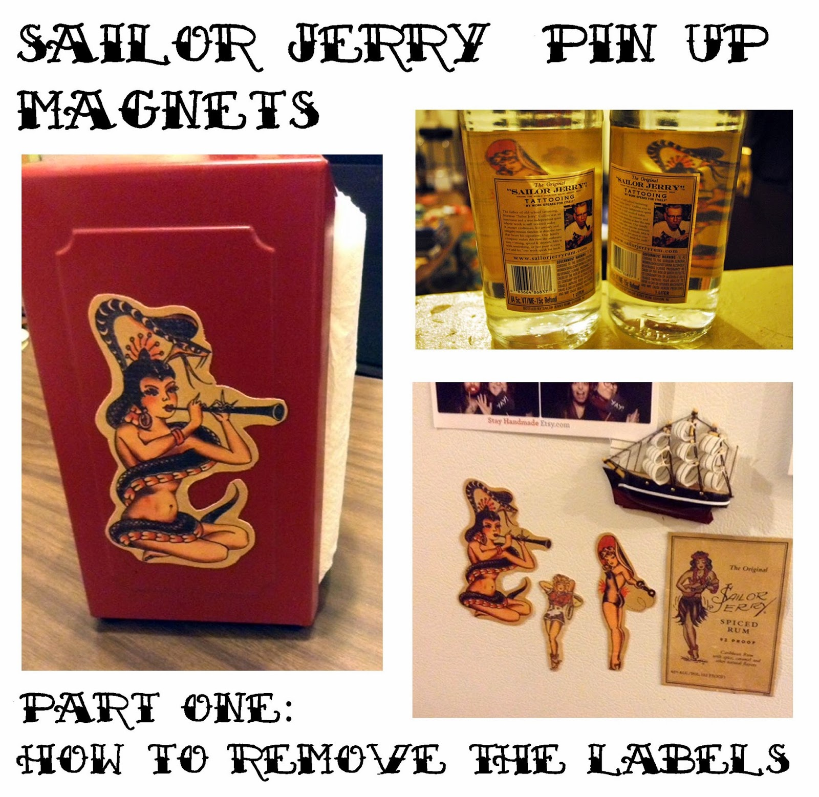 3cfc0087a We have been saving empty Sailor Jerry rum bottles for quite some time  because of the awesome pin up girl art in the back of the labels.