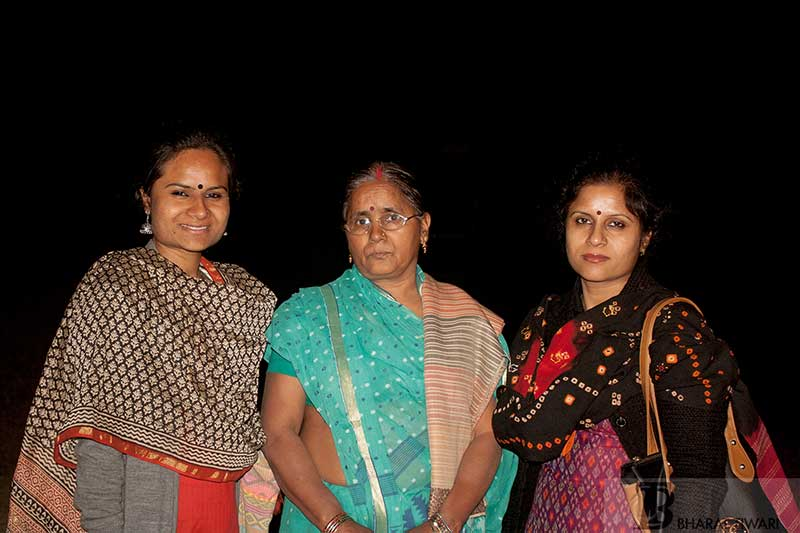 Kiran Tiwari (left) with her mother and sister—  Photo © Bharat Tiwari