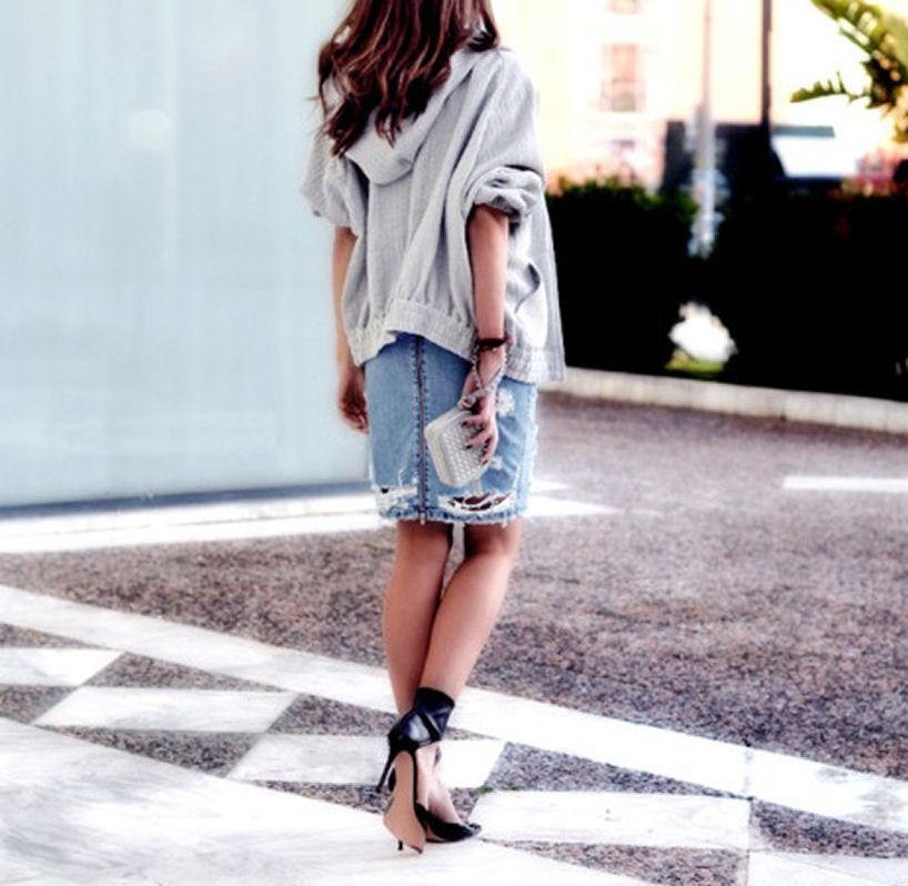 styling denim skirt
