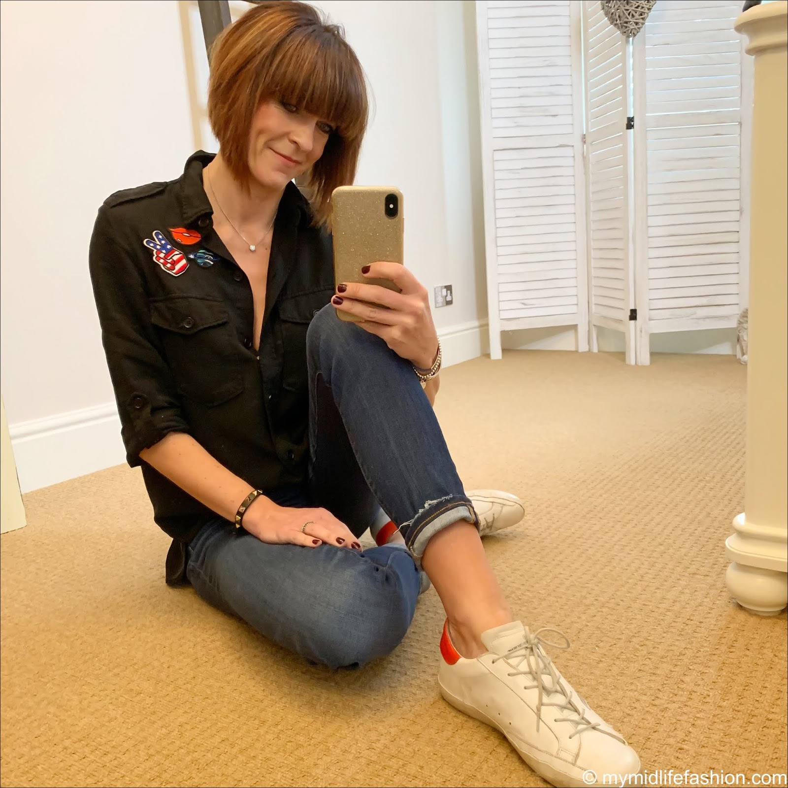 my midlife fashion, zara military shirt, j crew straight leg jeans, golden goose superstar low top leather trainers
