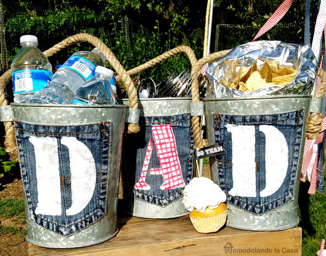 galvanized buckets with jean pocket DAD tags to celebrate father's day