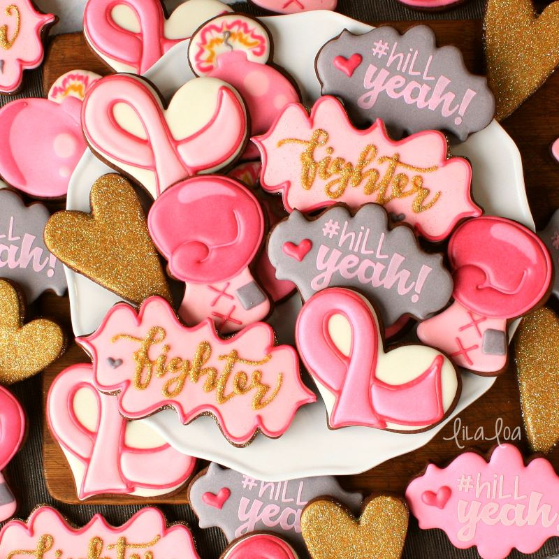 Pink and gold breast cancer decorated sugar cookies - ribbons and boxing gloves