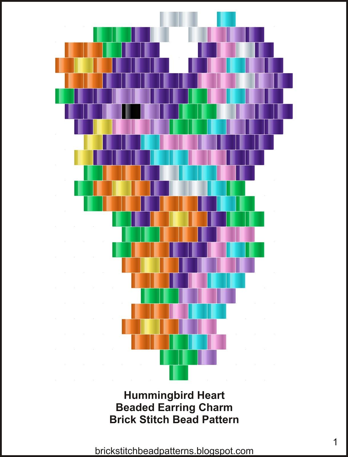 Brick Stitch Bead Patterns Journal: Hummingbird Heart ...