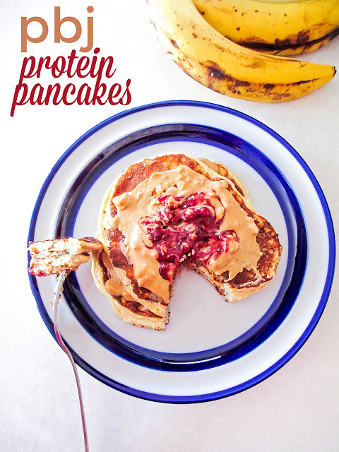 These easy and healthy banana pancakes are covered with peanut butter and packed with extra protein forthe perfect way to start a busy day!