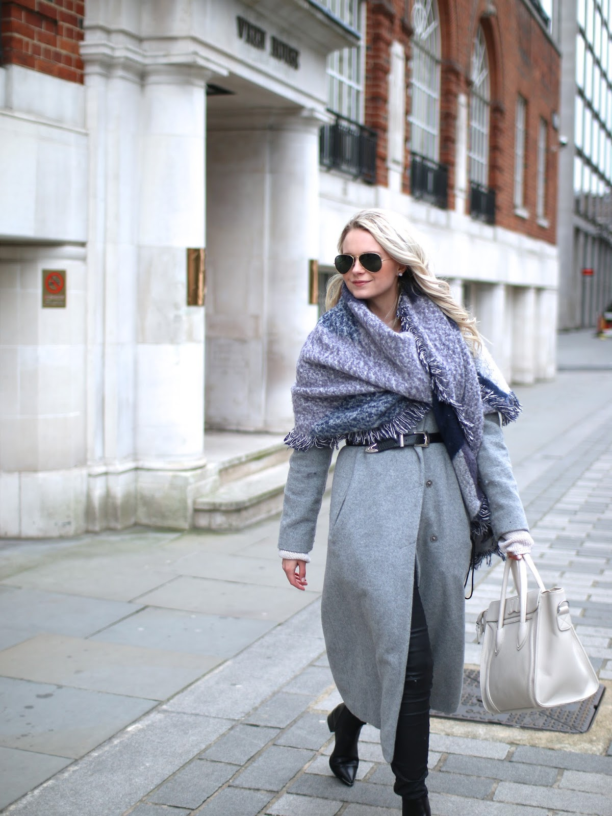 cozy grey outfit and acne jensen boots