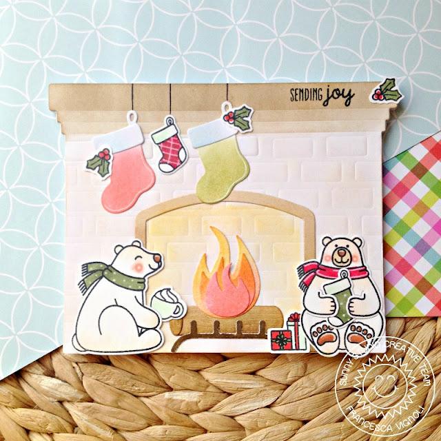 Sunny Studio Stamps: Fireplace Shaped Dies Playful Polar Bears Christmas Notepad by Franci Vignoli
