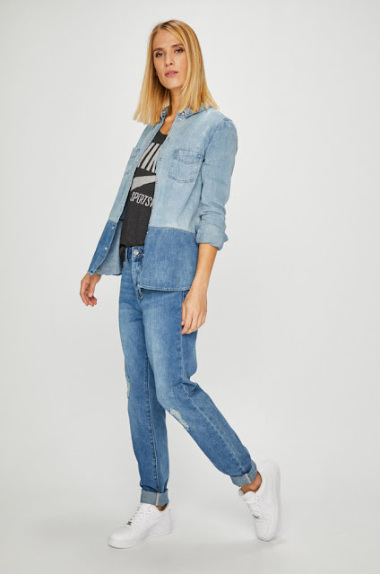 Vero Moda - Jeansi Ivy albatri drepti cu talie inalta