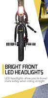 Bright Front LED headlight on SwagCycle E-Bike