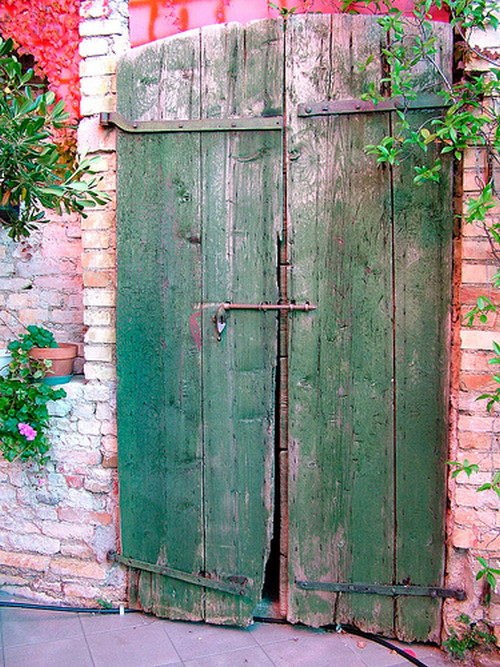 Decayed Green Wood Door